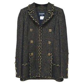 Chanel-Chanel 11A Paris-Byzance Black Gold Gripoix Buttons Jacket Coat Sz.36-Multiple colors