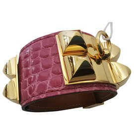 Hermès-dog collar-Pink,Golden