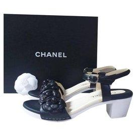 Chanel-Chanel Camellia Black Leather Heels Sandals Size 38-Multiple colors