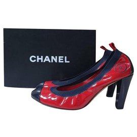 Chanel-Chanel Red Patent Leather Pumps Heels Shoes Sz 39-Multiple colors