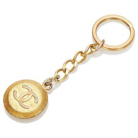 Chanel-Chanel Gold CC Gold-tone Key Chain-Golden