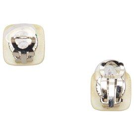 Chanel-Chanel Brown CC Clip-on Earrings-Brown,Silvery,Beige