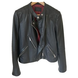 Ikks-Ikks black leather jacket-Black