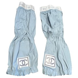 Chanel-Pants, leggings-White,Light blue