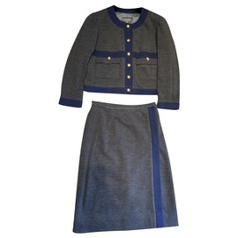 Chanel-Skirt suit-Grey,Navy blue