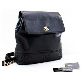 Chanel-CHANEL Backpack Caviar Triple Coco Flap Black Leather Ruck Gold-Black