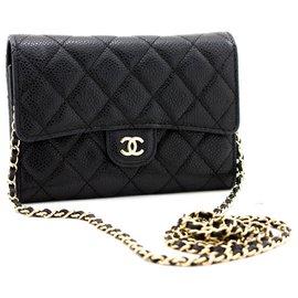 Chanel-CHANEL Caviar Small Wallet On Chain WOC Black Shoulder Bag Purse-Black