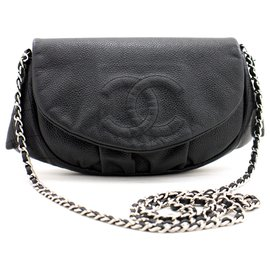 Chanel-CHANEL Caviar Half Moon WOC Black Wallet On Chain Clutch Shoulder-Black