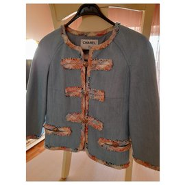 Chanel-Auth Chanel women denim tweed jacket x 3700GBP Awesome-Light blue