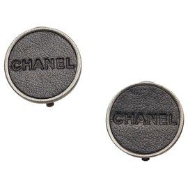 Chanel-Chanel Black Logo Clip-on Earrings-Black,Silvery