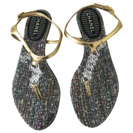 Chanel-Leather and Plastic Thong Sandal-Multiple colors,Golden