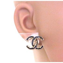 Chanel-Chanel Black Gold CC Enamel Stud Earrings-Black