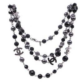 Chanel-Chanel Black CC Charms Beads Pearls Long Necklace-Black