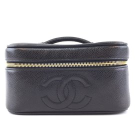 Chanel-Chanel Vanity Case CC Black Caviar Leather-Black