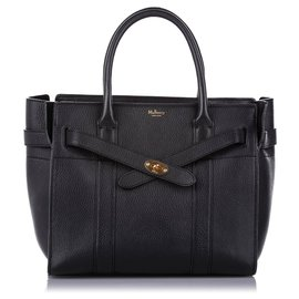 Mulberry-Mulberry Black Small Zipped Bayswater Leather Satchel-Black