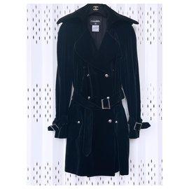 Chanel-Ultra Rare Velvet Trench Coat-Black