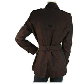 Burberry-Burberry Aubergine Purple Raincoat Mac Belted Trench Jacket Coat size US10, UK12-Purple
