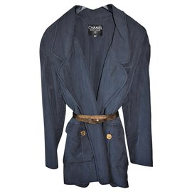 Chanel-Chanel jacket with Mademoiselle Coco Chanel button-Blue