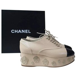 Chanel-Chanel Black Beige Leather Metal Camellia Wedge Shoes-Black,Beige