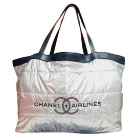 Chanel-Shopper chanel airlines-Silvery,Navy blue