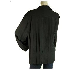 Chanel-Chanel Black Silk Longsleeve Buttoned Pleated 100% Silk Shirt Top Blouse Size 48-Black