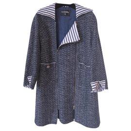 Chanel-4K$ 2017 tweed trench coat-Navy blue