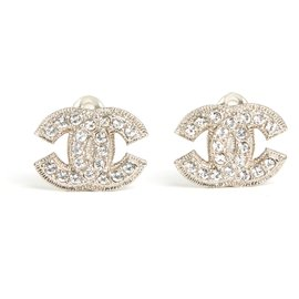 Chanel-SILVER CC CLIPS M BORDERED-Silvery