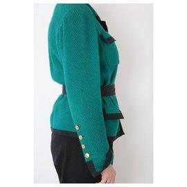 Chanel-CHANEL Vintage Long Jacket-Dark green