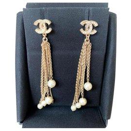 Chanel-Chanel CC gold dangling earrings-Gold hardware