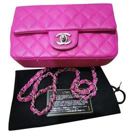 Chanel-Mini bolsa de aba clássica Chanel rosa Caviar-Rosa