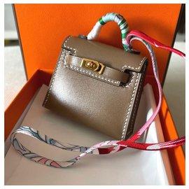 Hermès-Hermes Etoupe Kelly bag charm-Beige