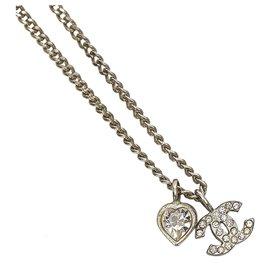Chanel-Chanel Silver CC Heart Rhinestones Pendant Necklace-Silvery
