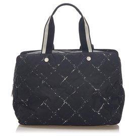 Chanel-Chanel Black Old Travel Line Nylon Travel Bag-Black,White