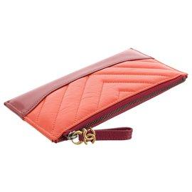 Chanel-Chanel Orange Chevron Leather Pouch-Red,Orange