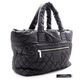 Chanel-CHANEL Coco Cocoon Large Nylon Tote Bag Handbag Black Bordeaux-Black