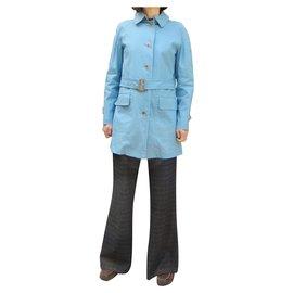 Burberry-Burberry women's lightweight raincoat 38-Light blue