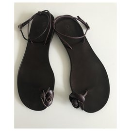 Chanel-Camellia Toe Post Thong Sandals-Brown