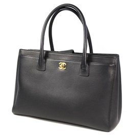 Chanel-CHANEL Executive tote Womens tote bag black x gold hardware-Black,Gold hardware