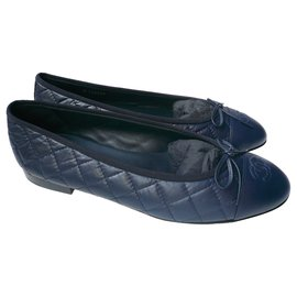 Chanel-CHANEL New navy quilted leather ballerinas T41,5 It-Navy blue