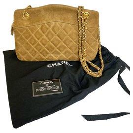 Chanel-Superb Chanel bag in Camel suede with golden-Caramel