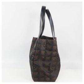 Chanel-CHANEL New Travel Line tote PM Womens tote bag A20457 dark brown x black-Black,Dark brown