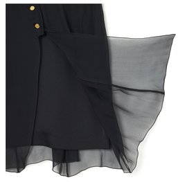 Chanel-BLACK SILK CHIFFON SATIN FR36/38-Black