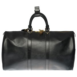 Louis Vuitton-The beautiful Louis Vuitton Keepall travel bag 45 black epi leather-Black