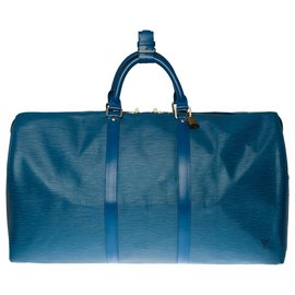 Louis Vuitton-The beautiful Louis Vuitton Keepall travel bag 50 in blue epi leather-Blue