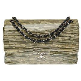 Chanel-Superb Chanel Timeless Jumbo handbag in yellow and black patent leather, Garniture en métal argenté-Black,Yellow