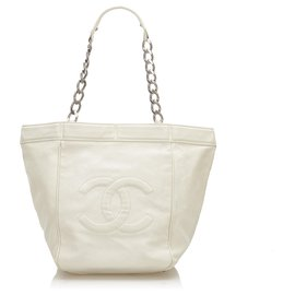Chanel-Chanel White CC Leather Tote Bag-White