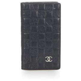 Chanel-Chanel Black Icon Lambskin Leather Wallet-Black