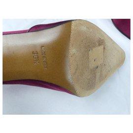 Dior-Escarpins DIOR  en satin Framboise-Violet,Fuschia