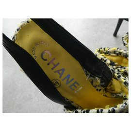 Chanel-escarpin chanel pointure 38 en tweed et talons haut neuve boite-Autre
