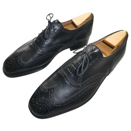 JM Weston-richelieu jm weston vintage size 8E shoe tree provided-Black